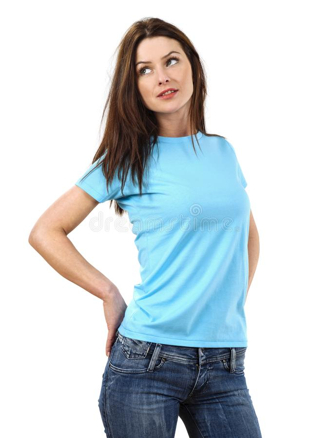 Download Woman Wearing Blank Light Blue Shirt Stock Image - Image of jeans, clothes: 107306531