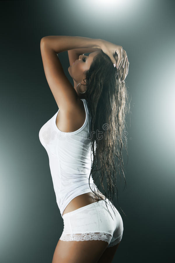 Download Woman Wearing White Tank Top And Panties Stock Image - Image: 24055593