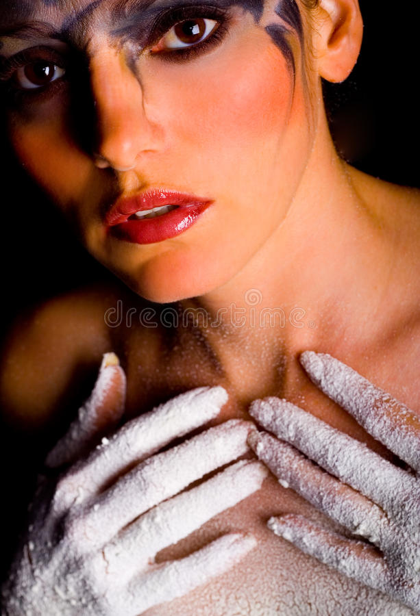 Woman With White Hands Stock Photo