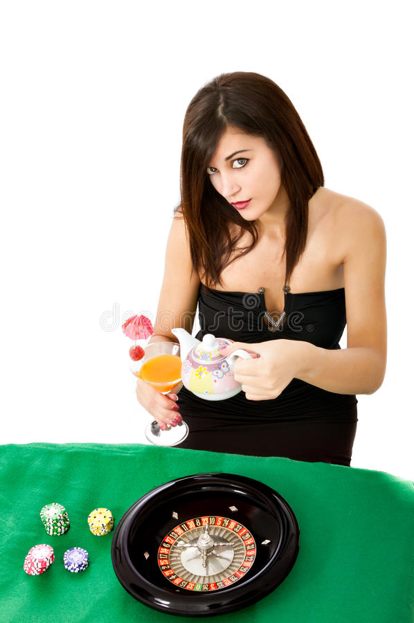 Woman tea time at casino. Woman wins at casino, success stock image
