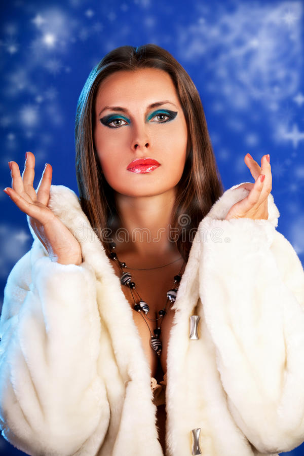 Woman On A Winter Background With Snowflakes Stock Photography