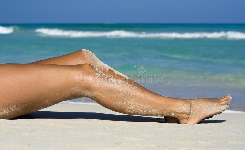 Sexy womans legs, tanning