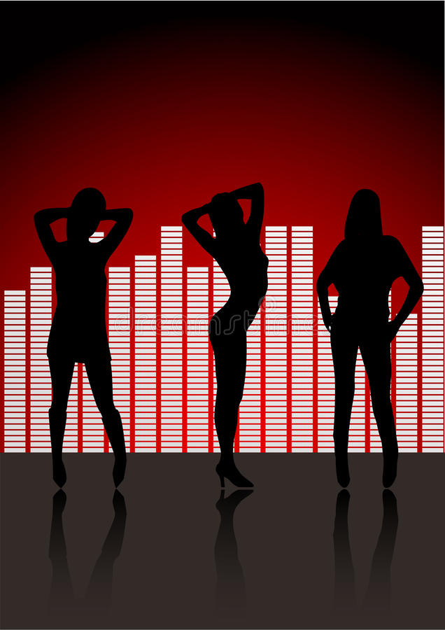 women silhouettes in club stock photography