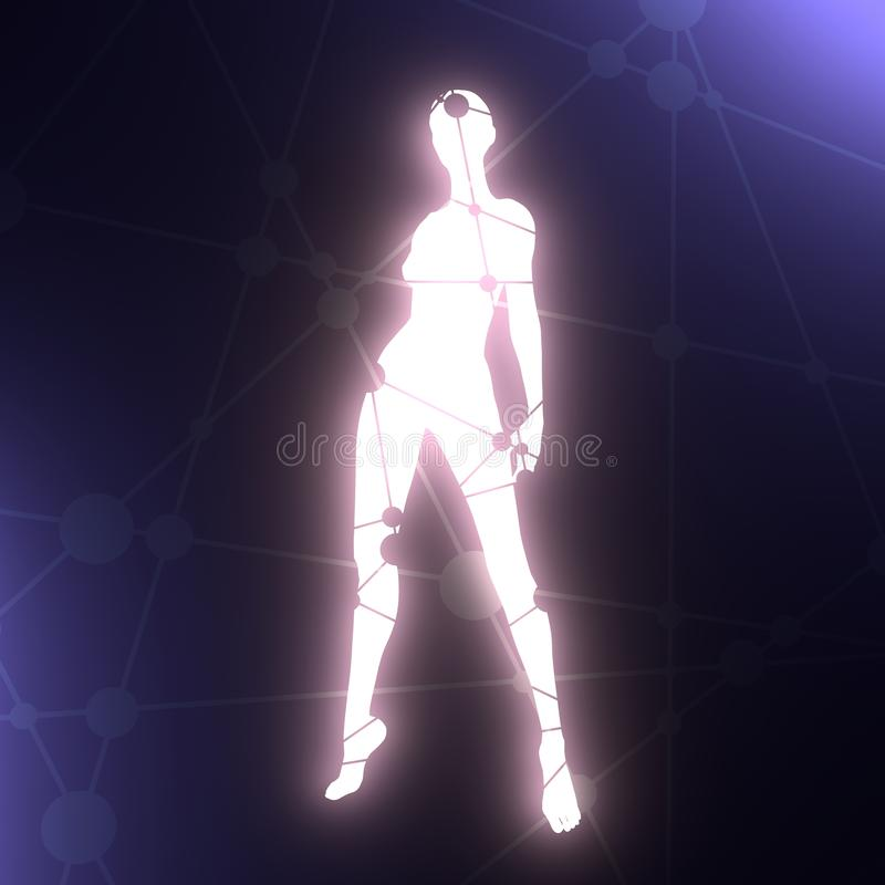 Women silhouette. S. Female figure posing. Silhouette textured by lines and dots pattern. 3D rendering vector illustration