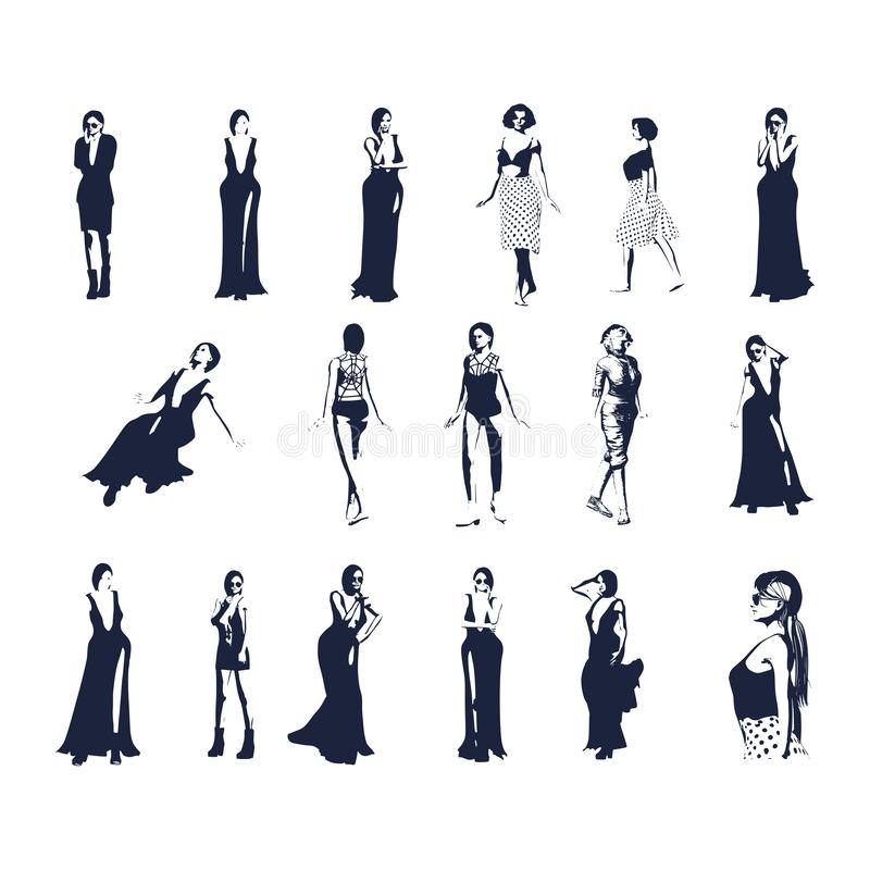 Women silhouettes set. Sexy women silhouettes in various poses. Standing and walking ladies royalty free illustration