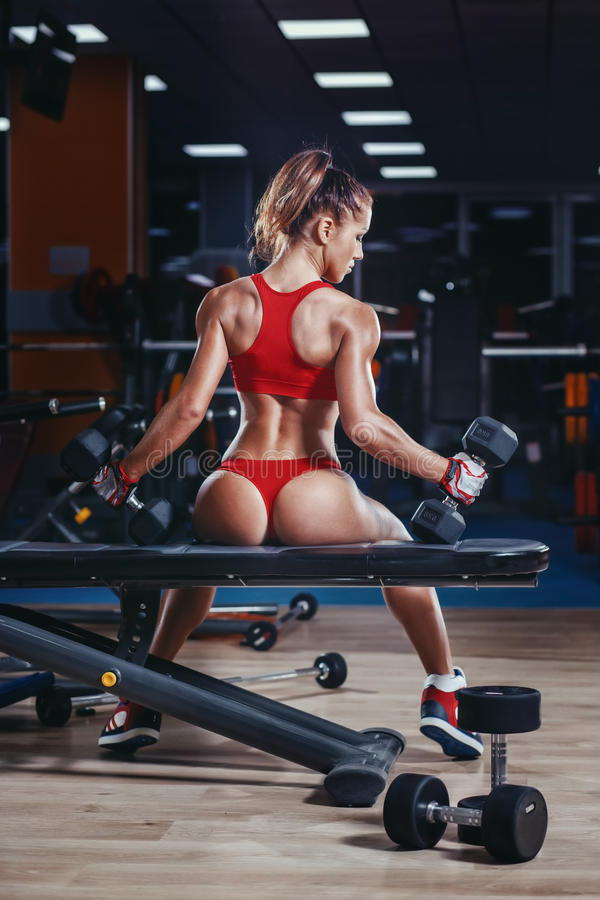 young athletics girl with perfect slim fit with dumbbells in gym stock photography