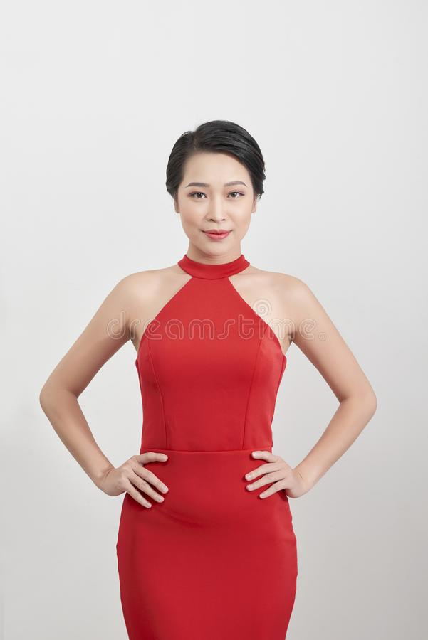 Sexy young beauty woman in red dress royalty free stock images