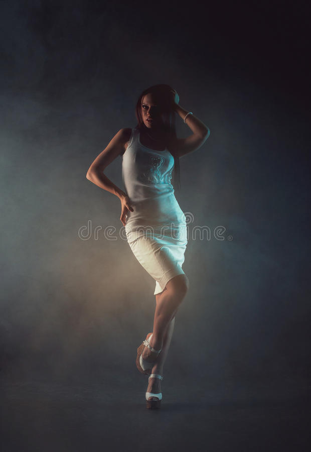 young beauty woman in white dress stock photography