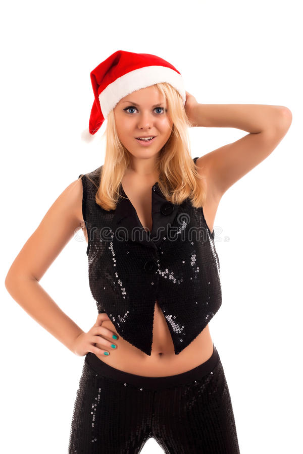 Download Young Blonde Woman In Santa Hat Stock Image - Image: 28040151