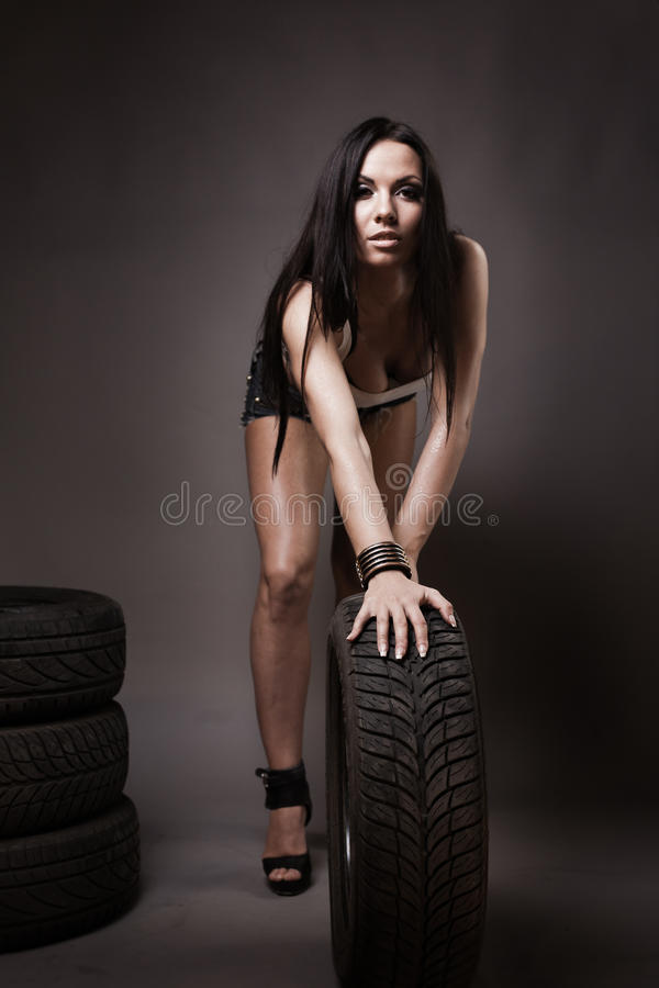 Young Brunette In Full Length Stock Photos