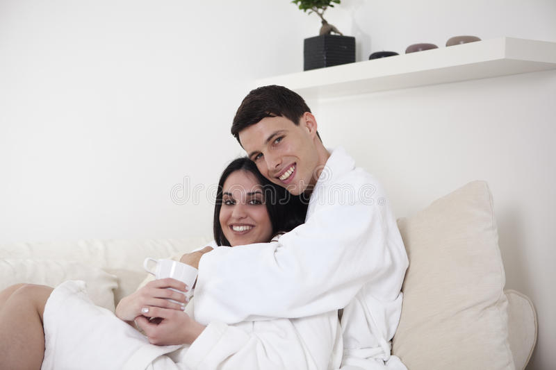 young couple in the morning royalty free stock image