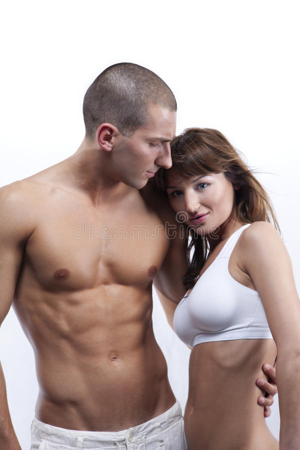 Sexy young couple in white