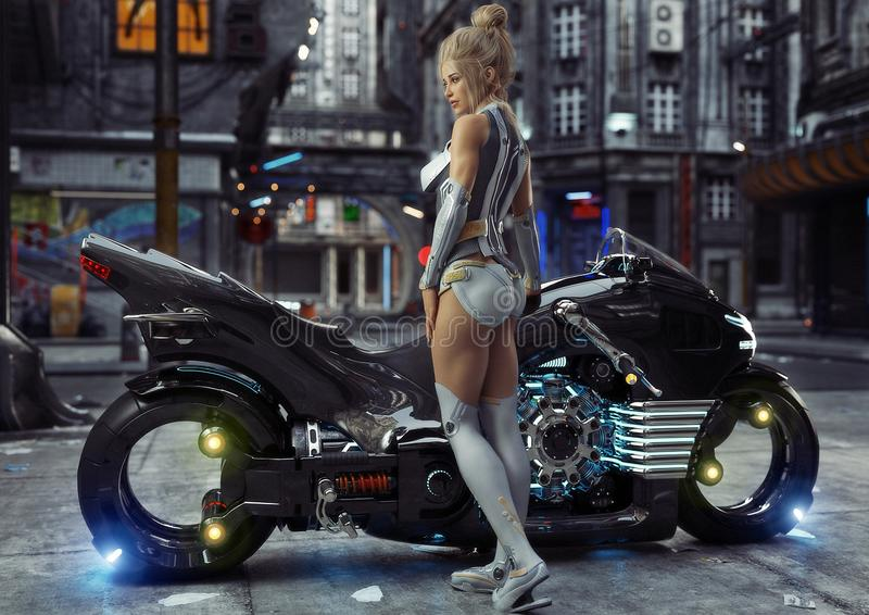 Young female in modern attire posing with her custom science fiction light cycle motorcycle in a futuristic urban background. Setting.3d rendering stock illustration