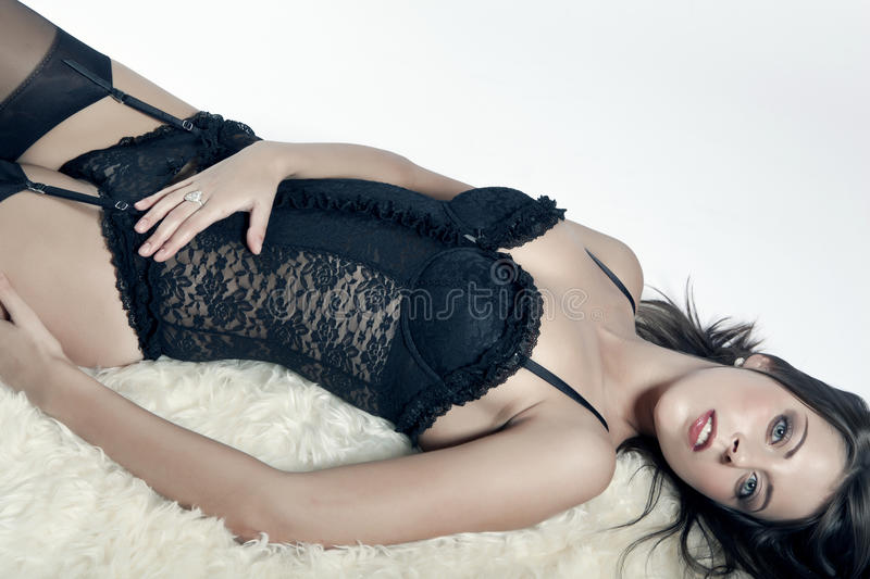 Young Girl With Big Breasts In Lingerie Stock Photos