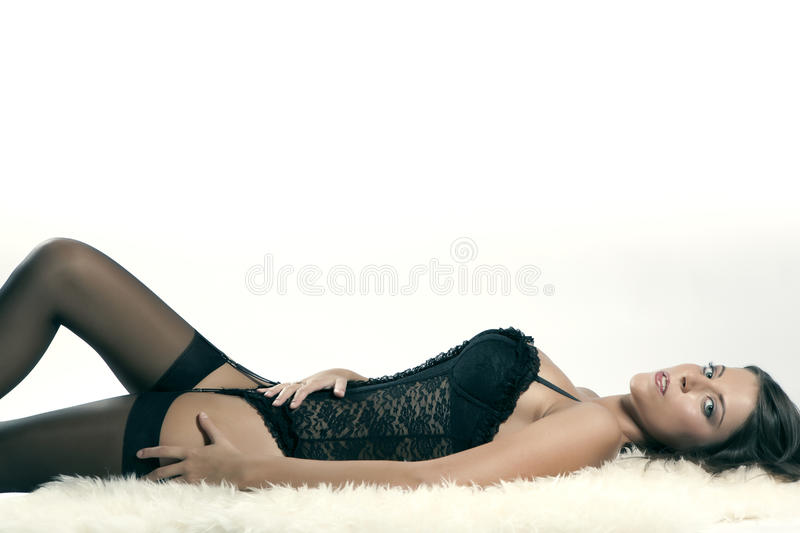 Download Young Girl With Big Breasts In Lingerie Stock Image - Image: 24546355