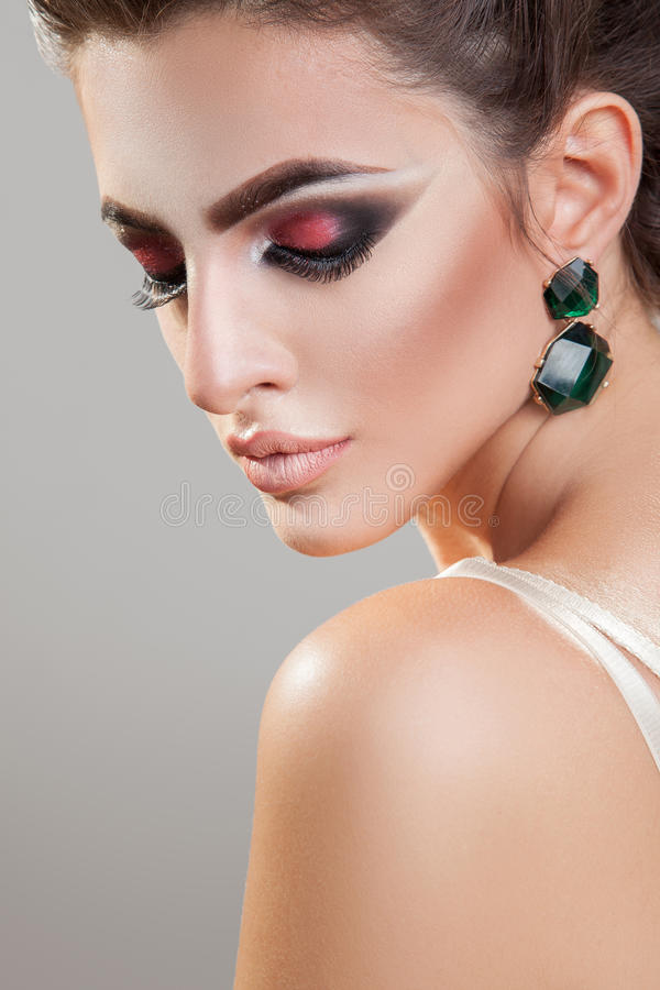 young girl with healthy skin and professional makeup with c royalty free stock image