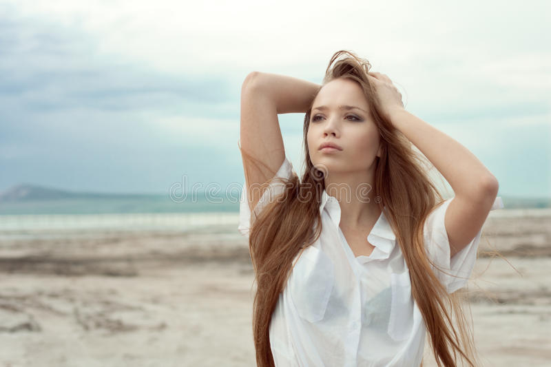 Download Young girl with long hair stock image. Image of nature - 23186375