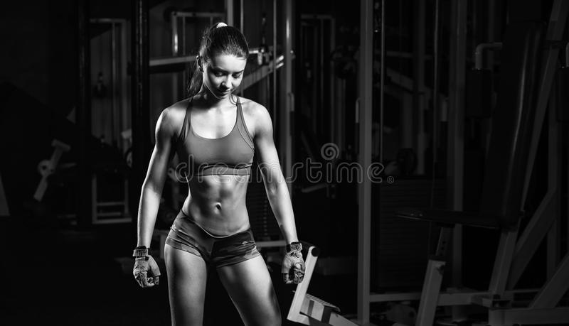 Young girl resting after sport workout exercises. Fitness woman in sport wear with perfect fitness body resting in gym royalty free stock photo