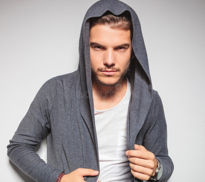 young male model with hoodie shirt royalty free stock photography