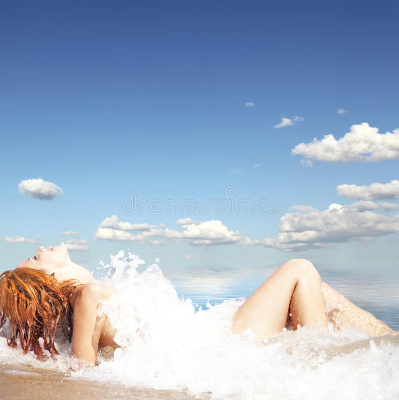 Download Young Red-haired Girl On The Beach. Stock Photos - Image: 16143993