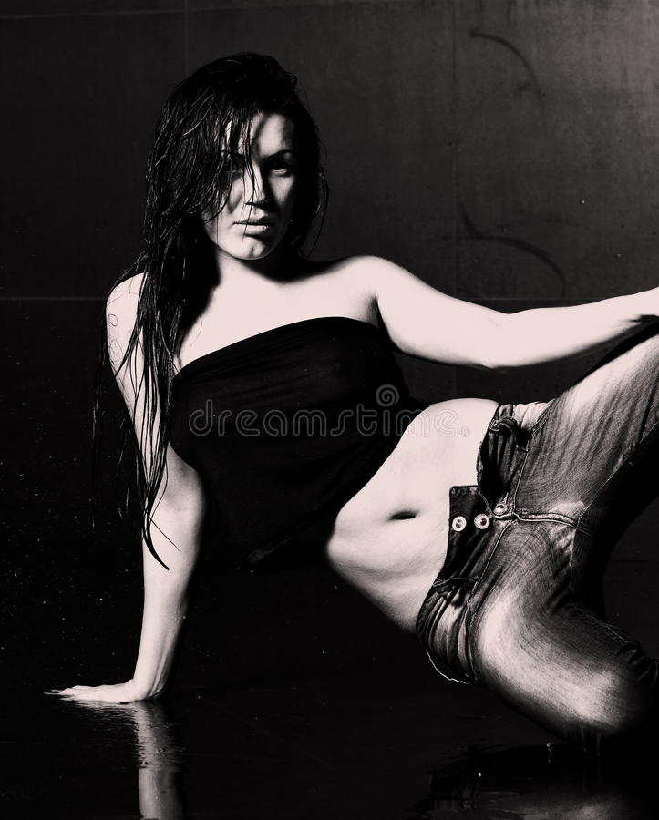 Download Young wet woman stock image. Image of pretty, studio - 24932321