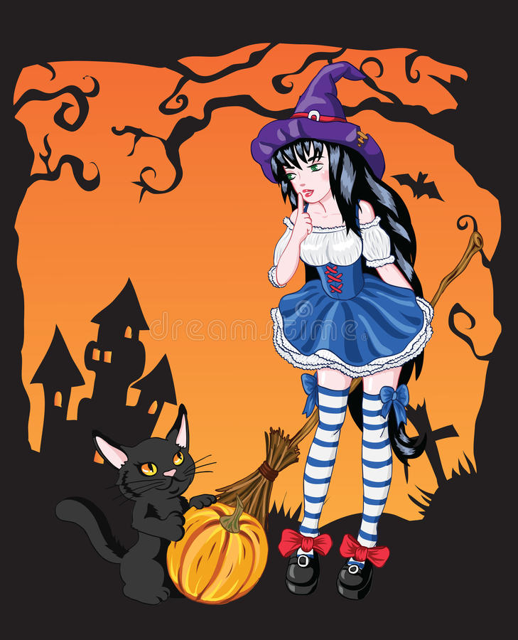 young witch drawing royalty free stock photos