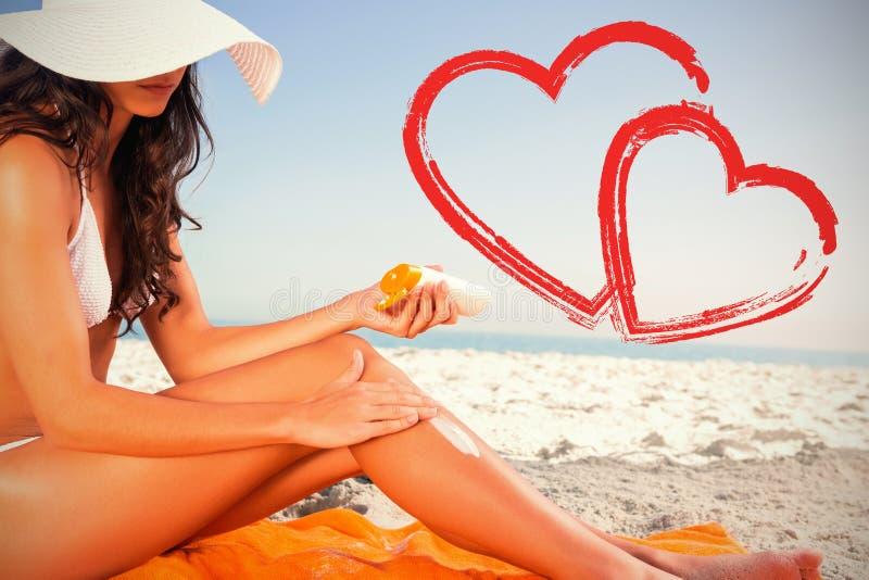 young woman applying sun cream stock illustration