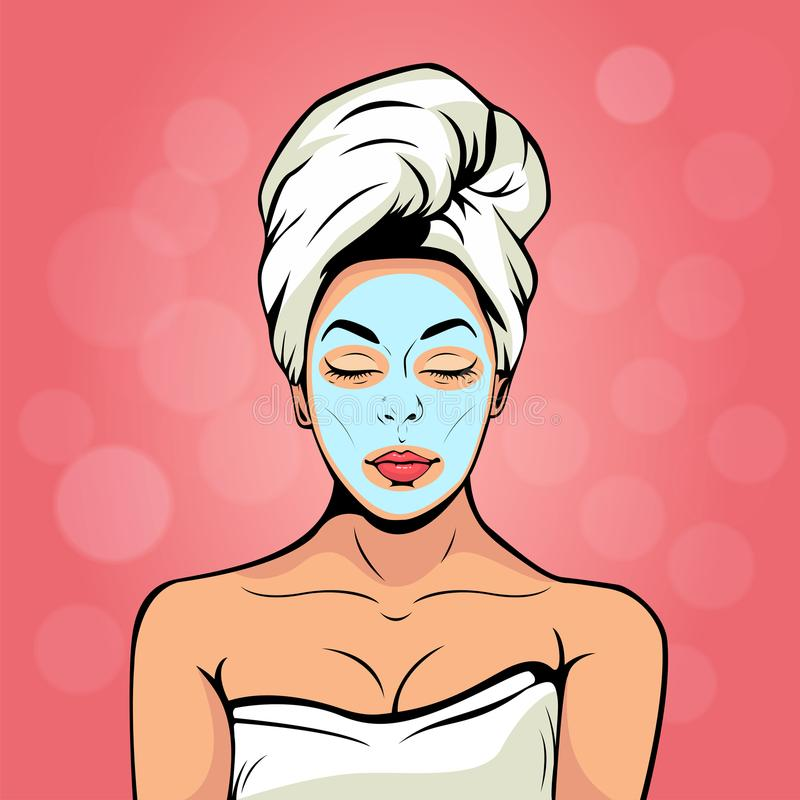 young woman in bath towel with cosmetic mask on her face. Pop art vector illustration stock illustration