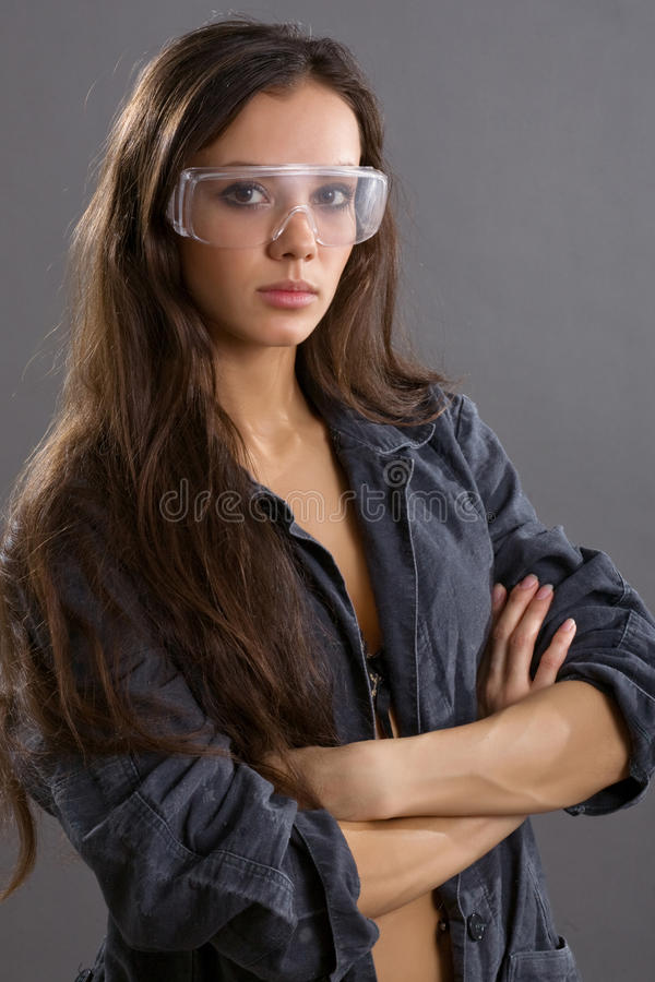 young woman construction worker royalty free stock photography