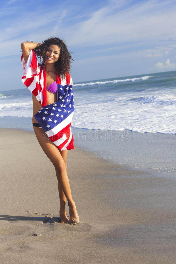 Download Young Woman Girl In American Flag On Beach Stock Image - Image of latina, girl: 32051385