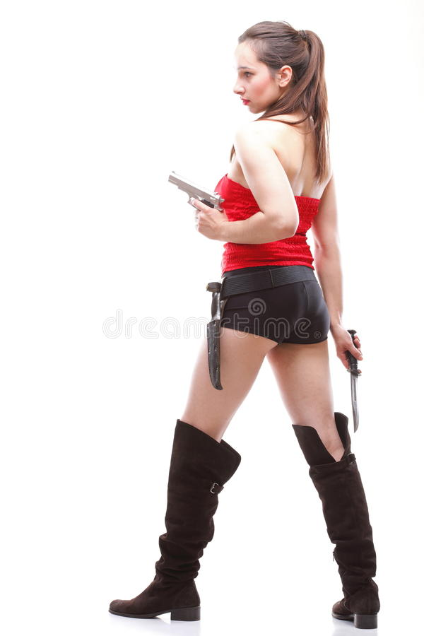 Download Young Woman - Gun  On White Stock Image - Image: 24288029