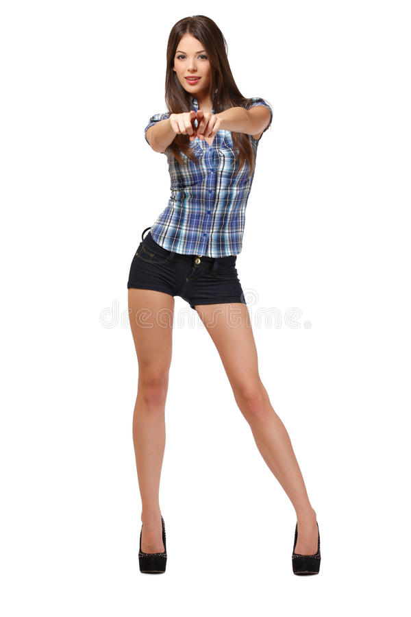 young woman pointing at you royalty free stock photo