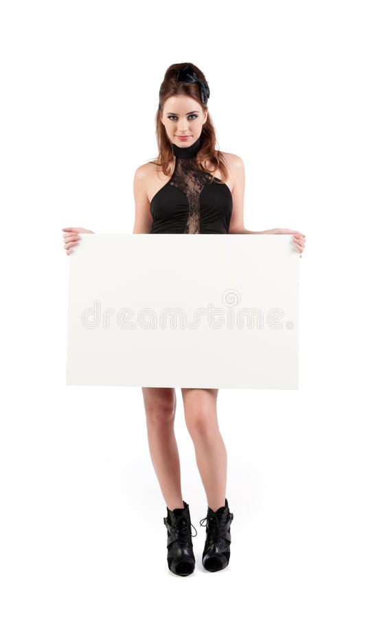 young woman with sign royalty free stock image