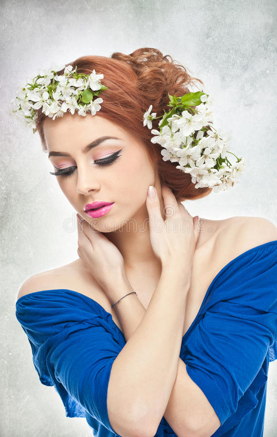 Download Young Woman With Spring White Flowers Stock Photo - Image of gorgeous, attractive: 39506168