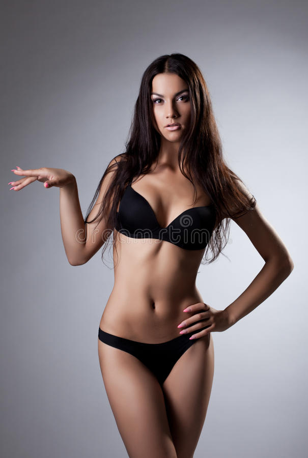 Download Young Woman Stand In Black Lingerie Stock Photo - Image: 26318924