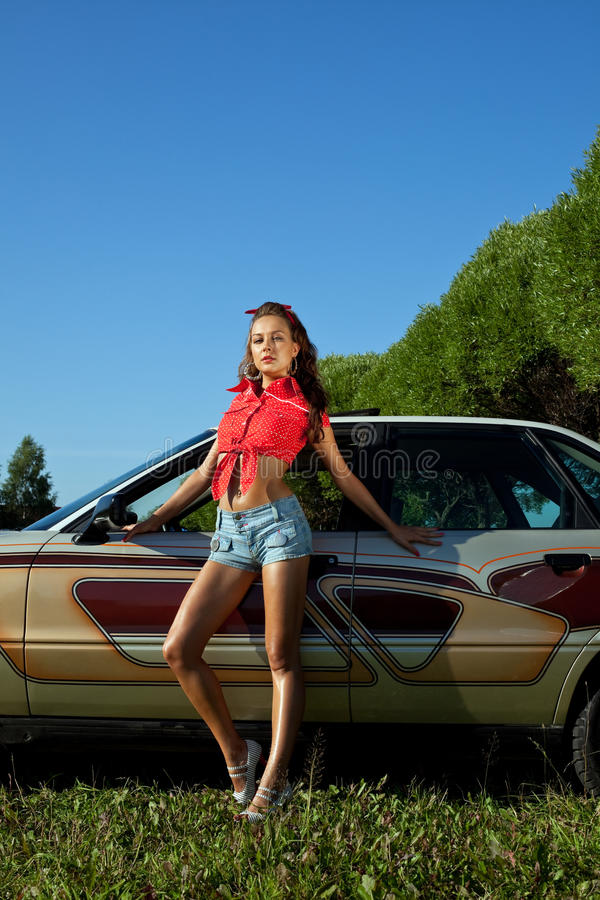young woman stay near retro graffiti car royalty free stock photos
