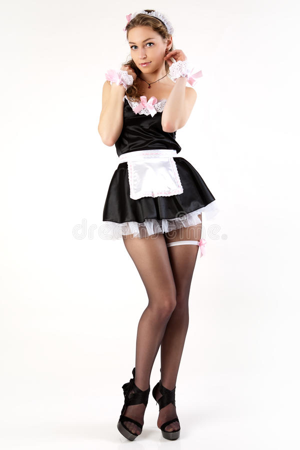 young women french maid. royalty free stock photo