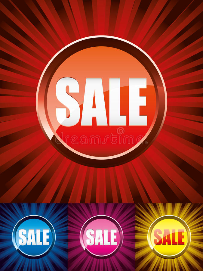 Sey of sale buttons. Set of colorful shiny sale buttons on colored backgrounds, illustration additional vector illustration