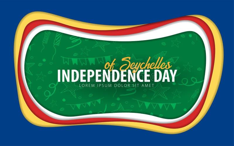 seychellen De groetkaart van de onafhankelijkheidsdag het document sneed stijl royalty-vrije illustratie