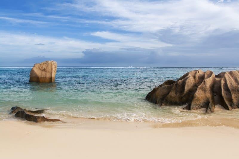 Seychellen. La Digue Insel. lizenzfreies stockfoto