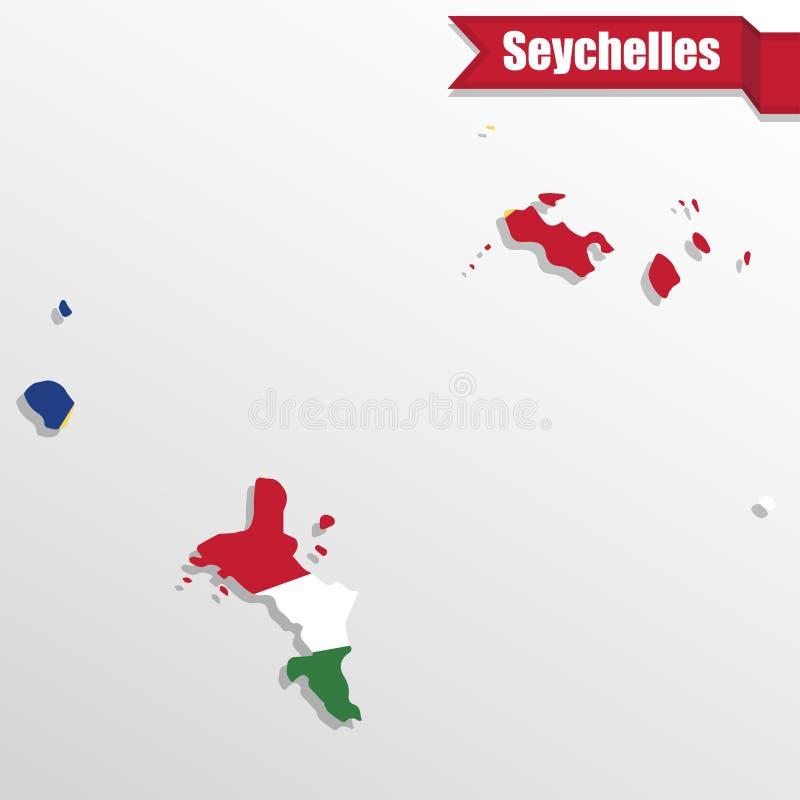 Seychellerna översikt med det flaggainsidan och bandet stock illustrationer