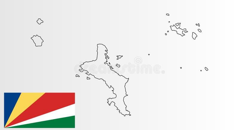 Seychellerna översiktskontur och Seychellerna flagga vektor illustrationer