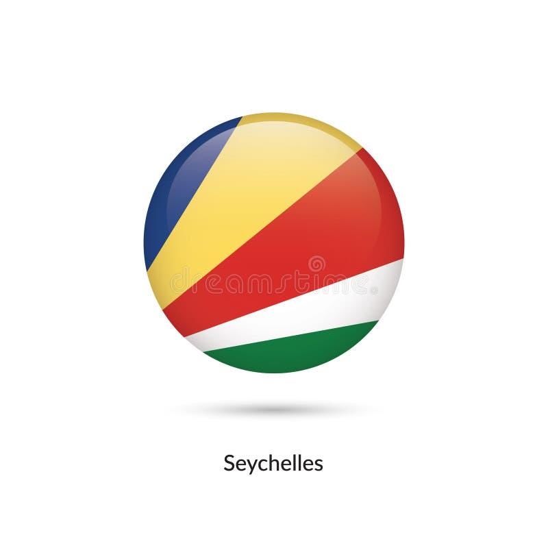 Seychellerna flagga - rund glansig knapp vektor illustrationer