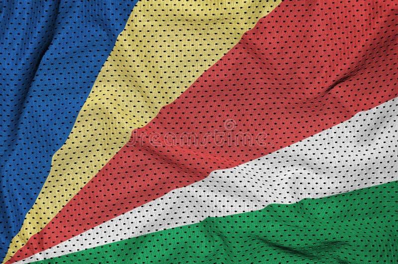 Seychellerna flagga som skrivs ut på ett fab ingrepp för polyesternylonsportswear arkivbilder