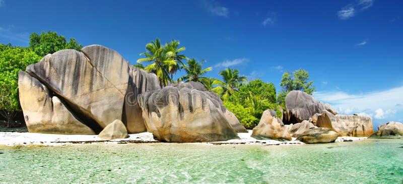 Seychellerna Ladigue arkivbilder