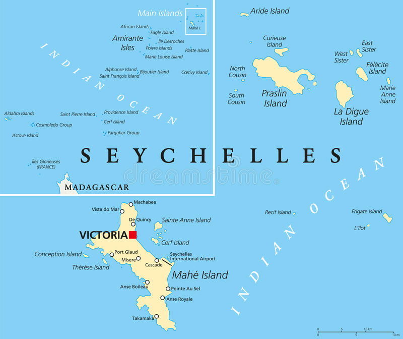Seychellerna politisk översikt royaltyfri illustrationer