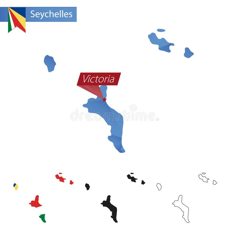 Seychelles błękitna Niska Poli- mapa z kapitałowym Wiktoria royalty ilustracja