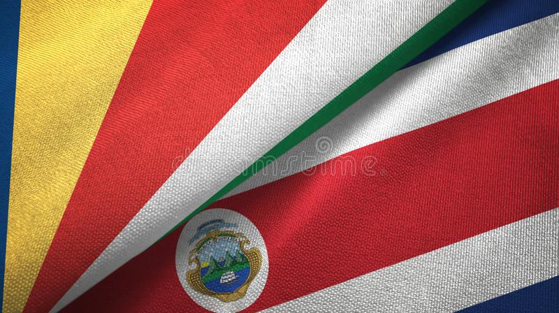 Seychelles and Costa Rica two flags textile cloth, fabric texture royalty free illustration