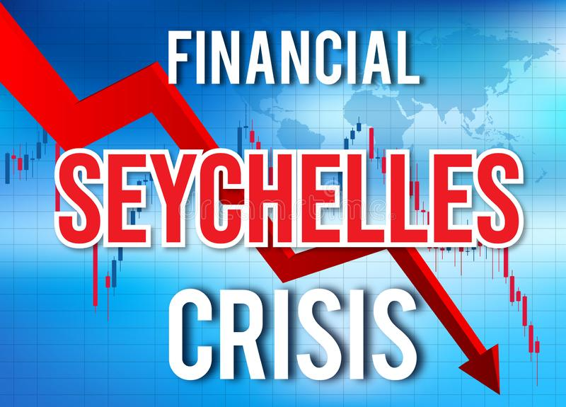 Seychelles Financial Crisis Economic Collapse Market Crash Global Meltdown. Illustration stock illustration