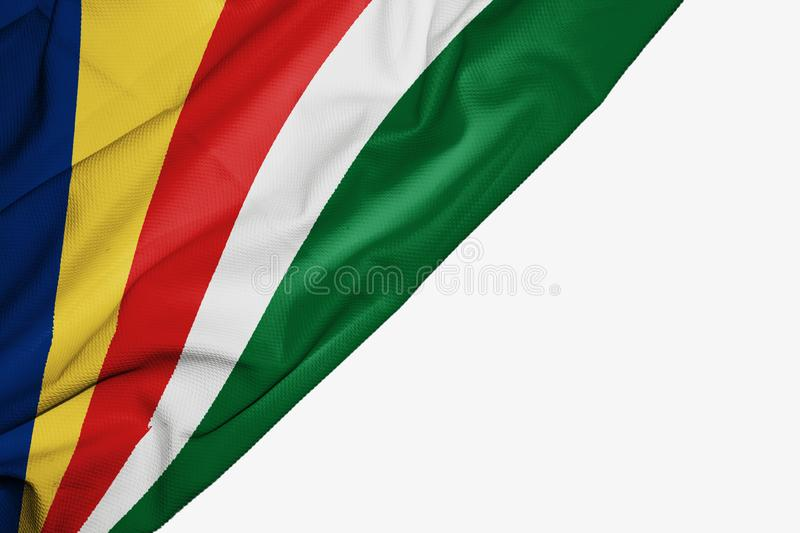Seychelles flag of fabric with copyspace for your text on white background. Africa banner best blue capital colorful competition country ensign free freedom vector illustration